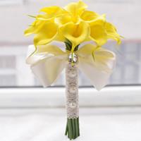 Wholesale Rose Lily Flower Bouquet - 18pcs Simulation Flowers Bouquet Bridal Wedding Holding Flowers Calla lily Artificial Flower Wedding Supplies Decoration Props