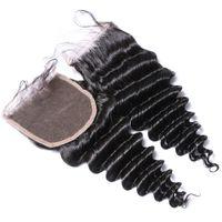 Wholesale Bleached Knots Closure Density - 4*4 Free Part Medium Density Lace Closure Deep Wave Top Closure Pieces With Baby Hair Bleached Knots Indian Wavy Hair