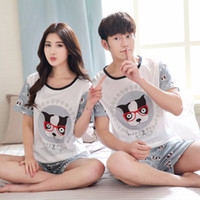 Wholesale Cartoon Sweet Couple - Wholesale- New Summer Spring Autumn Lovers Short-sleeved Pajamas Cartoon Couple Cute Sweet Pajamas Sets Sleepwear Nightwear Home Clothes