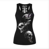 Wholesale Bone Print Tank - Wholesale- Newest 2017 sleeveless t-shirt black vest tops 3D print ribs skull bone camisole polyester horror sexy tank top