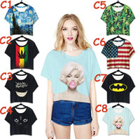 Wholesale Wholesale Marilyn T Shirts - Womens Batwing Tops Leaf Marilyn Monroe Funny Printed t shirts for Women Short Sleeve Cute Loose Crop Tops Casual Shirts Ladies Tops BB1296