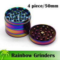 Wholesale Rainbow Ship - Beautiful 50mm Rainbow Grinders 4 Piece Grinder Zinc Alloy Material Top Quality Tobacco Herb Spice Crusher Fast Shipping