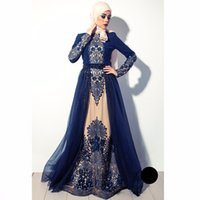 Wholesale High quality Navy Blue Muslim Evening Dresses In Dubai Arabia hijab long sleeves formal gown beaded crystal embroidery prom dress