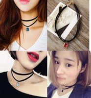 Wholesale Leather Straps For Necklaces - 2016 Hot 2 Layer Clavicle Chain Harajuku Retro Velvet Belt Neck Strap Collarn Crystal Punk Sweater Chain Necklaces Jewelry for Women