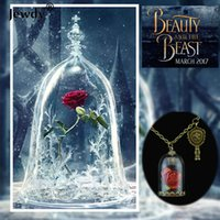Wholesale Fairy Tales Jewelry - Wholesale- Beauty and the Beast Necklace Vintage Rose Flower Terrarium Pendant Hermione Valentines Day Fairy Tale Movie Victorian Jewelry