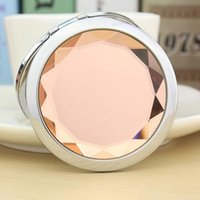 Wholesale Make Up Mirror Magnifying - 2016 new Engraved Cosmetic Compact Mirror Crystal Magnifying Make Up Mirror Wedding Gift 10colors Makeup Tools