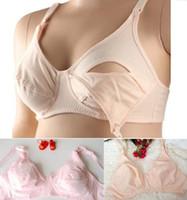 ingrosso tazze reggiseno per il seno-Reggiseno di maternità 100% cotone reggiseno infermieristico senza fili anteriore apertura fibbia piena tazza reggiseno allattamento intimo rosa nudo