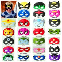 Wholesale Costume Eye Face Mask - Halloween Cosplay Mask Superhero Superman Batman Spiderman Captain America Costume Party Masks Masquerade Eye Mask For Kids Gift