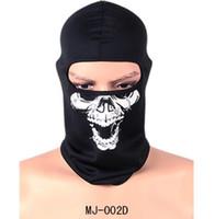 Wholesale Adult Motorcycle Full Face Helmet - Bike Bicycle Motorcycle Ghost Biker Skull Hood Face Mask Ski Balaclava Halloween Party CS Sport Helmet Snood Hat Scarfs Cap Neck Ghost Scarf