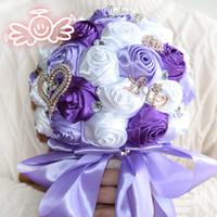 Wholesale Artificial Sapphire - Purple Wedding Bouquet Decorative Artificial Sapphire Rose Wedding Flower Bridal Crystal Pearl Silk Bouquets Wedding Flowers