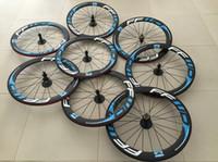 mavi karbonlu yol bisiklet tekerlekleri toptan satış-FFwD Mavi karbon jantlar 60mm kattığı karbon tekerlek, 700C yol bisikleti tam karbon bisiklet tekerlekleri powerway hub