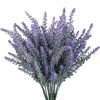Artificial Fake Flocked Lavender Bouquet em arranjos de flores roxas Bridal Home DIY Floor Garden Office Wedding Decor