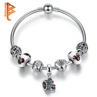 Wholesale Jewelry Set Cartoon - BELAWANG Silver Plated Cubic Zircon Beads Charms Bangles Cartoon Murano Glass Beads Bracelets Women Jewelry DIY Making Christmas Day Gift
