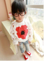 Wholesale Girls Floral T Shirt - 2-7Y spring children's clothing Girls t-shirt flower pullover floral hollow petal toe guard long sleeve hoody sweatshirt 2-7Y