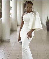 Wholesale Evening Vogue - Vogue White One Shoulder Half Sleeves Mermaid Evening Dresses Formal Beading African Dubai Women 2017 Long Sheath Dress Prom Celebrity Gown