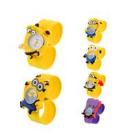 Wholesale Girls 3d Watches - 3D Eye Children Kids Slap Watch Boy Girls Cartoon Wristwatch Yellow Silicone Rubber Quartz Watches Chirstams Birthday Gift