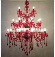 luces de araña modernas para el vestíbulo al por mayor-Iluminación de araña de cristal ROJO de lujo moderno europeo 24L LED D110CM H120cm Moderna sala de estar de cristal del hotel Lobby Chandelier