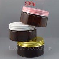 kosmetikglas verpackung gold großhandel-braune Farbe PET-Glas, 200ml Plastikglas mit weißer Rosa- oder Goldkappe, Cosmetic Packaging Körperpflege 200g Durchsichtiges Behälterglas