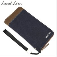 Wholesale Photo Lions - LOCAL LION Canvas Men's Long Zipper Wallet for Male Muti Pockets Cash Purses Casual Wallets Clutch Card Phone Holder