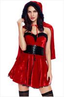 siyah babydoll elbise artı boyutu toptan satış-Kaliteli Sıcak Seksi Noel Siyah Ve Kırmızı Elbise Artı Boyutu Babydoll Gecelikler Kostüm Yetişkin Kadın Noel Erotik Lingerie