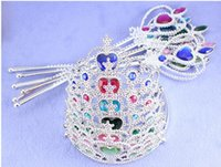 Wholesale Spray Fill - Snow and ice colors plastic crown multicolor drill spraying Frozen hairpin crown + magic wand suit 10 sets of minimum