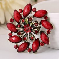 Wholesale Gem Brooch Bouquet - Hot Sale Fashion Gem Brooches Hollow Out Flowers Pins Europe and America Vintage Rhinestone Brooch Wedding Bouquet Pins 3 Colors