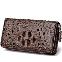 FEIDIKABOLO 3D Embossing Alligator Moda Crocodilo Long Clutch Carteiras homens Duplo zíper Couro Men's Purse Business Carteras
