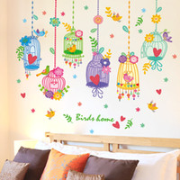 Wholesale Bird Home Nursery - Colorful Birdcages Birds Home Wall Decal Sticker Cartoon Butterfly Tree Branch Wall Mural Poster for Kids Room Nursery DIY Wallpaper Decor