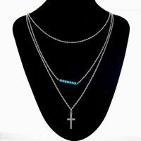 kreuz silber türkis großhandel-10 Teile / los Sommer Stil Schmuck Mode frauen Kreuz Perlen Halskette Anhänger Edelstein Türkis Halskette Silber