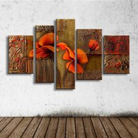5 Panel Wall Art Red Flower Pintura al óleo sobre lienzo Pintado a mano Graffiti Acrílico Floral Paintings Home Decor Pictures