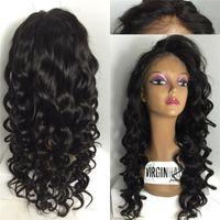dantel ön peruk insan ıslak dalgalı toptan satış-Brezilyalı İnsan Saç Peruk Bebek Saç Ile Islak Dalgalı Tam Dantel Peruk Siyah Kadınlar Için Tutkalsız Tam Dantel Ön Peruk Insan Saçı