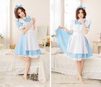 Wholesale Hot Female Maid - Hot Sale Alice in Wonderland Costume Lolita Dress Maid Cosplay Fantasia Carnival Halloween Costumes for Women