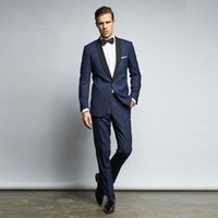 Handsome Dark Navy Men Suits Slim Fit One Button Groom Wedding Suit Cheap Two Pieces Custom Tuxedos (Jacket + Pants + Bow Tie)