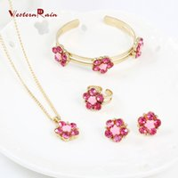 Wholesale Indian Wedding Flower Jewellery - WesternRain 2017 New Children Jewellery, Small Flower Fashion Kids Jewelry With Sweetly Rose Kids Necklace Pink Green colors A722