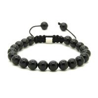 Wholesale 8mm jasper beads - Wholesale 10pcs lot 8mm Natural Black Onyx, White Howlite Marble & Grey Jasper Stone Beads Shamballa Macrame Lucky Bracelets