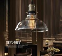 Wholesale glass edison pendant - Loft vintage glass industrial pendant lighting E27 Edison bulb hanging pendant light for restaurant lighting art glass chandelier