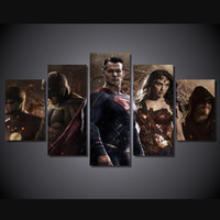 picture batman Canada - 5 Pcs Set Framed Printed batman v superman dawn of Painting Canvas Print room decor print poster picture canvas Free shipping ny-4098