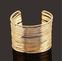parlak altın bilezikler toptan satış-Kadın Altın Bilezik Takı Katı Hollow Parlak Bileklik Bilezik Altın Gümüş Renk Bileklik Manşet Zarif Lüks Takı