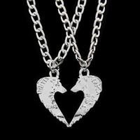 Wholesale Wolf Coin - 2 pcs set Tiger Wolf Cut Coins Pendant Necklace Make A Heart Lover Men Couple Best Friends Necklaces Friendship Animal Jewelry
