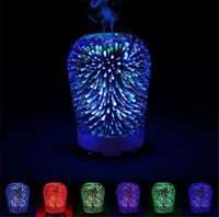 Wholesale Gradient Night Light - 3D Humidifier Ultrasonic Mist Humidifier Gradient Color Night Lights Aromatherapy Diffuser Color Changing Humidifiers Free DHL
