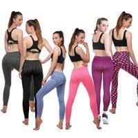 black female yoga pants al por mayor-Europa y Estados Unidos Nuevas Mujeres Peach Hip Sporting Leggings Pantalones Negro Púrpura Push Up Caderas Pantalones Mujer Corriendo Pantalones de Yoga Al Aire Libre