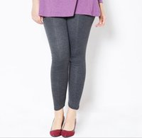 Wholesale Slimming Leggings Shaper - 3XL 5XL Plus Size High Waist Yoga Ankle-Length Leggings for Women Fleece Stretch Shaper Tights Slim Pants Fitness Casual Trousers Jegings