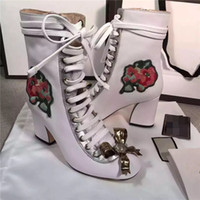 Wholesale Red Thick Heels Boots - European Style Bowties Pearl Decor Round Toe Booties Floral Printed Lace Up Thick Heels Boots Spring Autumn Women Ankle Boots