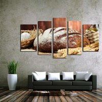Wholesale Canvas Oil Paintings Fruits - 5 Pieces no frame Oil Paintings on Canvas Wall Decoration Retro Bread and Oats Fruit Food Life