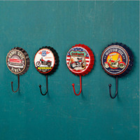 Wholesale Hat Retro Vintage - Beer Brand Bottle Cap Styled Cast Iron Retro Clothes and Hat Hooks For Home Bathroom Free Shipping