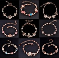 Wholesale Fox Gems - Mix Charm Bracelet Cat Eye Gem stone Luxury Marquise Cut Austrian CZ Crystal Gold Plated Rose Fox Fish Heart Jewelry Fashion Bracelet DHL