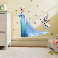 Wholesale Elsa Poster - Free Shipping Cartoon Princess Elsa And Anna Snow Queen Wall stickers For Kids Room Wall Decals Vinyl Stickers Removable Poster