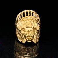 Wholesale Egyptian Rings - New Retro Tibetan Fashion Jewelry Gold Plated Egyptian Pharaoh Ring Egypt King Tut Egyptian Pharaoh Finger Ring