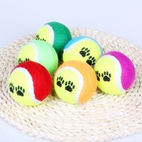 Wholesale Cheap Toys For Pets - Wholesale- 4 pieces lot Pet Dog Toys 6cm Tennis Ball Cheap Portable Environmental Rubber Chew New Random Color Free Shipping for Puppy Dogs