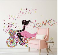 Wholesale Pink Fairy Wall Stickers - Personality Fairies Girl Butterfly Flowers Art Decal Wall Stickers For Home Decor DIY Mural Kids Rooms Wall Decoration